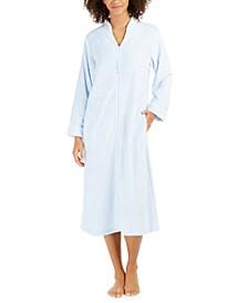 Women's Jacquard Cuddle Fleece Long Zipper Robe