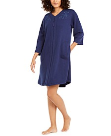 Embroidered Quilted Zipper Robe