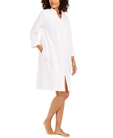 Women's Brushed Waffle Embroidered Zipper Robe