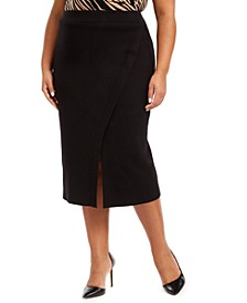Plus Size Asymmetrical Slit Pencil Skirt