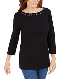 Petite Cotton Boat-Neck Grommet-Trim Top, Created for Macy's