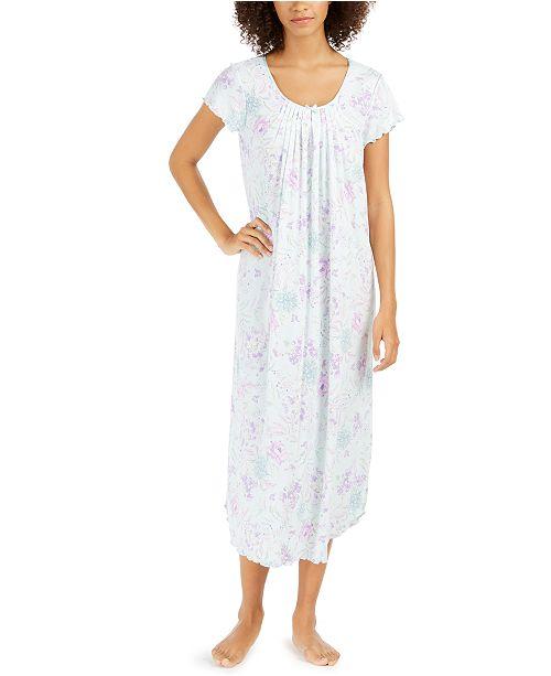Miss Elaine Women's Floral-Print Long Nightgown