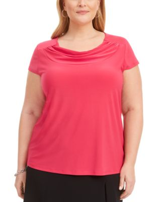 Plus Size Cowlneck Solid Stretch Top