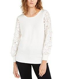 Sequin-Sleeve Sweater, Created For Macy's