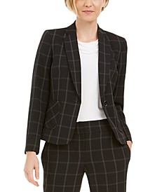 Petite Windowpane-Plaid One-Button Blazer