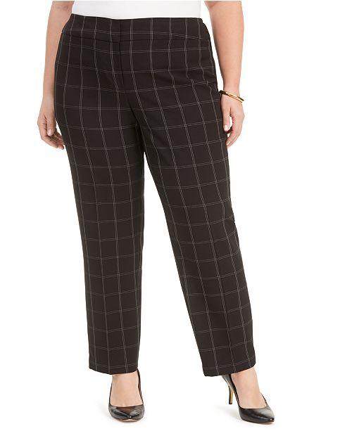Kasper Plus Size Windowpane Straight-Leg Dress Pants