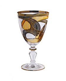 Set of 6 Water Glasses with 24K Gold Swivel Design