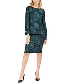 Metallic Bell-Sleeve Top & Pencil Skirt