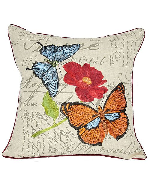 """Manor Luxe Papillion Emboridery Pillow Collection, 18"""" x 18"""""""