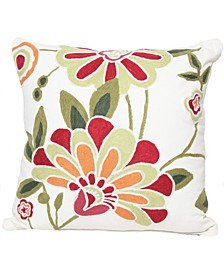 "Floral Crewel Emboridery Pillow Collection, 18"" x 18"""