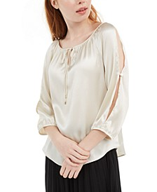 Juniors' Split-Sleeve Tie-Neck Top
