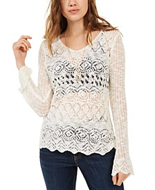 Juniors' Pointelle-Knit Flared-Sleeve Sweater, Created For Macy's
