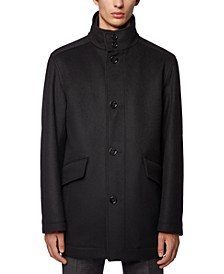 BOSS Men's Funnel-Neck Car Coat