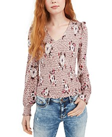 Juniors' Printed Smocked Blouse, Created For Macy's