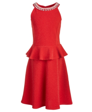 Monteau Big Girls Embellished Peplum Dress