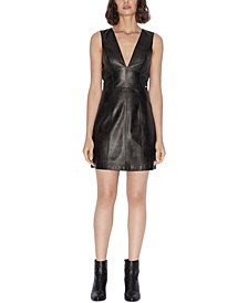 Sleeveless Faux Leather Mini Dress