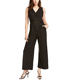 Petite Lattice-Detail Linen-Blend Jumpsuit