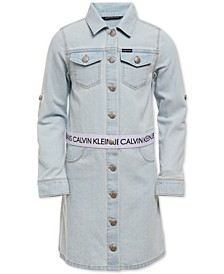 Big Girls Logo-Tape Cotton Denim Trucker Dress