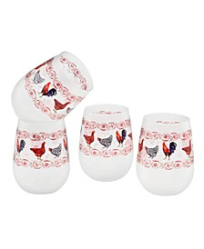French Country Chickens Wine Glass 15-oz Set of 4