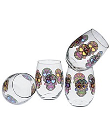 Sugar Skull Stemless Wine Glass 15-Ounce Set of 4