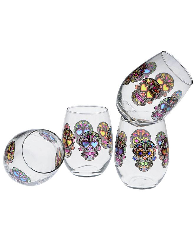 Culver Sugar Skull Stemless Wine Glass 15-Ounce Set of 4