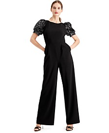 Sequined Puff-Sleeve Jumpsuit