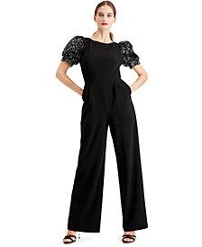 Calvin Klein Sequined Puff-Sleeve Jumpsuit