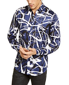 INC Men's Big & Tall Abstract Scribble-Print Shirt, Created For Macy's