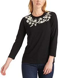 3/4-Sleeve Embroidered Cotton T-Shirt
