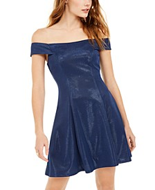 Juniors' Metallic Off-Shoulder Dress