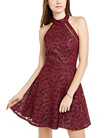 Juniors' Foil Lace Halter Dress