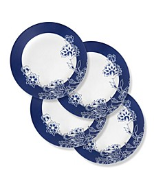 Boutique 11 Inch Dinner Plate Indigo Blooms 4 Pack