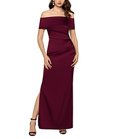 Off-The-Shoulder Satin Slit Gown