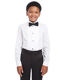 Big Boys 2-Pc. Slim-Fit Pintucked Tuxedo Shirt & Bow Tie Set
