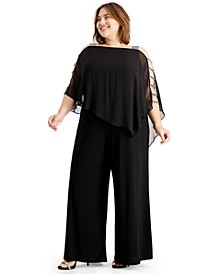 Plus Size Embellished Cape-Overlay Jumpsuit