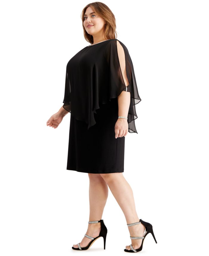 MSK Plus Size Embellished Chiffon-Overlay Dress & Reviews - Dresses - Women - Macy's