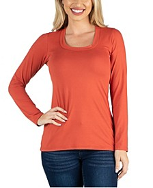 Scoop Neck Long Sleeve Solid Color Tee