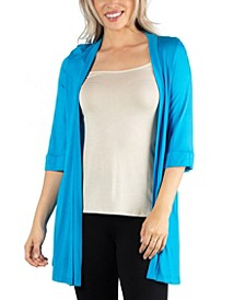 Open Front Elbow Length Sleeve Women Cardigan