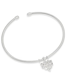Crystal Heart Flexi Cuff Bangle Bracelet, Created for Macy's