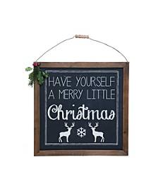 Wood Black Christmas Wall Art with Greenery
