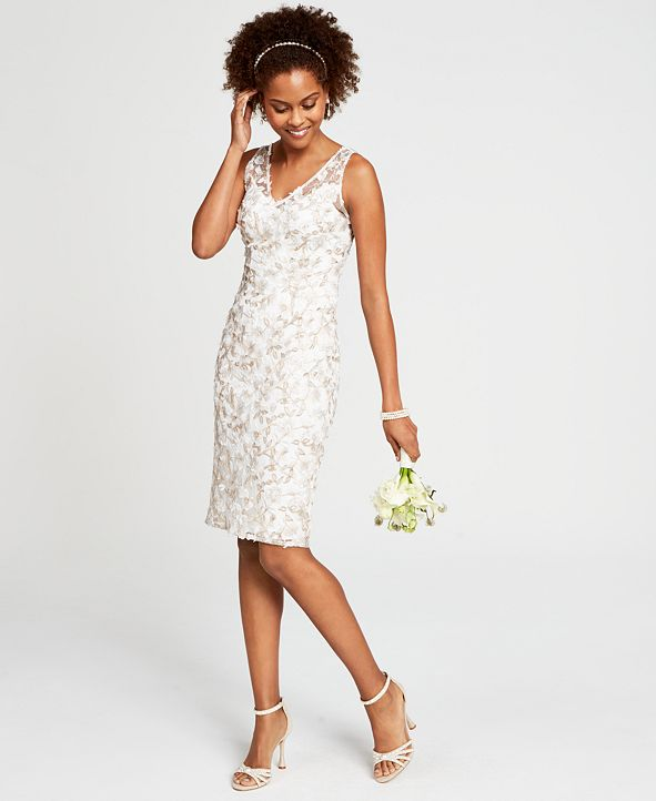 Adrianna Papell Floral Embroidered Sheath Dress