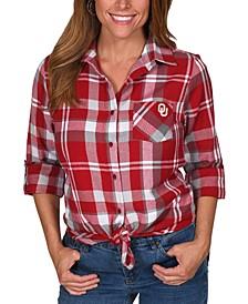 UG Apparel Women's Oklahoma Sooners Flannel Boyfriend Plaid Button Up Shirt