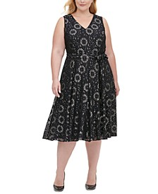 Plus Size Sleeveless Lace Fit & Flare Dress