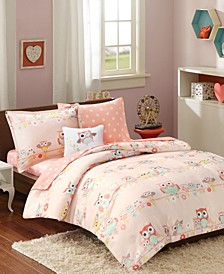 CLOSEOUT! Wise Wendy, Blush, 8-Pc. Reversible Full Comforter Set