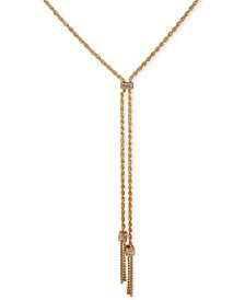 """Gold-Tone Crystal Tassel Fringe Cold As Ice Y-Shaped Necklace, 24"""" + 2"""" extender"""