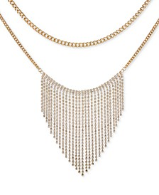 "Gold-Tone Crystal Fringe Layered Statement Necklace, 16"" + 2"" extender"