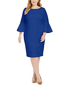 Plus Size Bell-Sleeve Sheath Dress