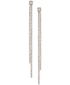 Gold-Tone Crystal Double-Row Linear Earrings