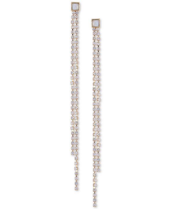 GUESS Gold-Tone Crystal Double-Row Linear Earrings