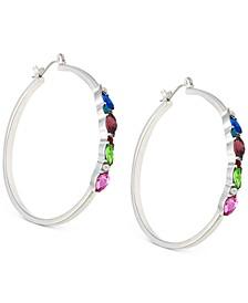 """Medium Silver-Tone Multicolor Crystal Hoop Earrings, 2"""""""